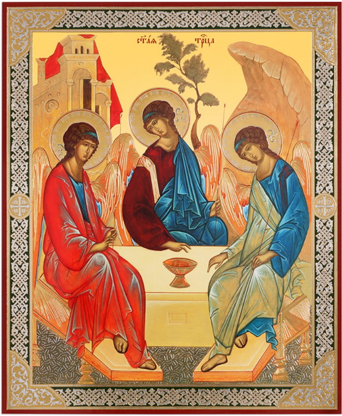 The Hospitality of Abraham with the Holy Trinity, in the manner of Andrei Rublev